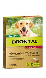 Drontal For Large Dogs 35Kg Chewable 20'S