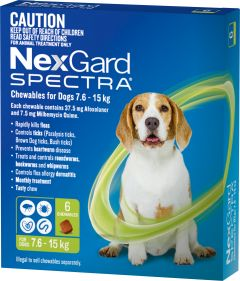 NexGard Spectra 6-Pack for Dogs 7.6-15KG